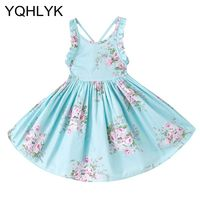 Baby Girls Dress Brand Summer Beach Style Floral Print Party Backless Dresses 2018 New Casual Wear