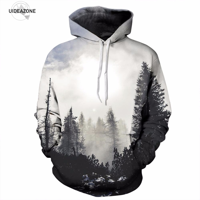 c625da6fcef8 New Fashion Autumn Winter 3D Print Trees Hoodies Unisex Thin Sweatshirts  With Hat Pullovers Clothing Plus