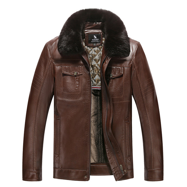 2016 nueva mediados de edad hombre de piel de invierno chaqueta de cuero chaqueta de cuero masculina fabricantes que venden