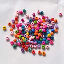 500pcs In A Lot DIY Jewelry Findings 5*6MM Round Shape Beads Mix Color Wooden Bracelet Department