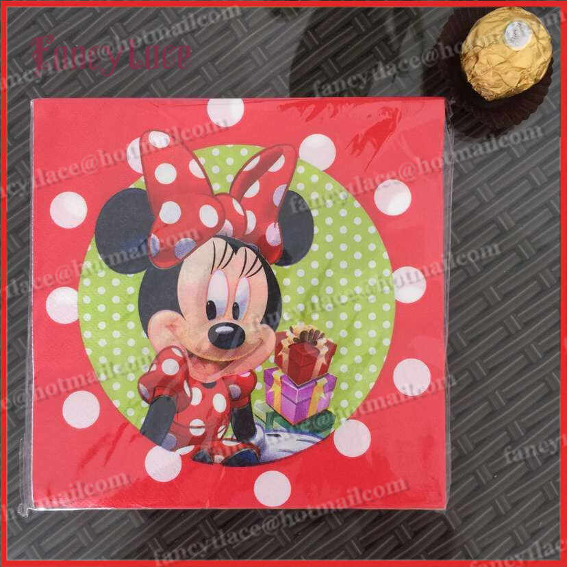 20pcs Red Minnie Mouse Paper Napkin for Party Decoration Supplies Kids Birthday Party Home Party Disposable Tableware Decoration