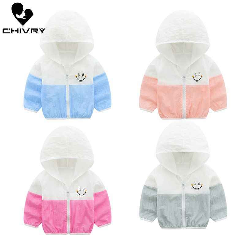 2019 Children's Hooded Sun Protection Clothing Summer Autumn Baby Boys Girls Thin Coat Patchwork Kids Beach Sun Jacket Outwear