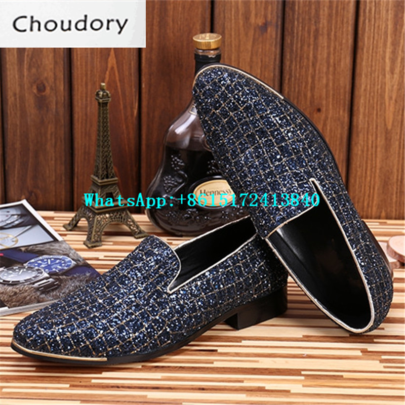 Choudory Solid Breathable Slip-On Men Shoes Casual Genuine Leather Round Toe Spring Autumn New Designer Pearl Plaid Shoes Men