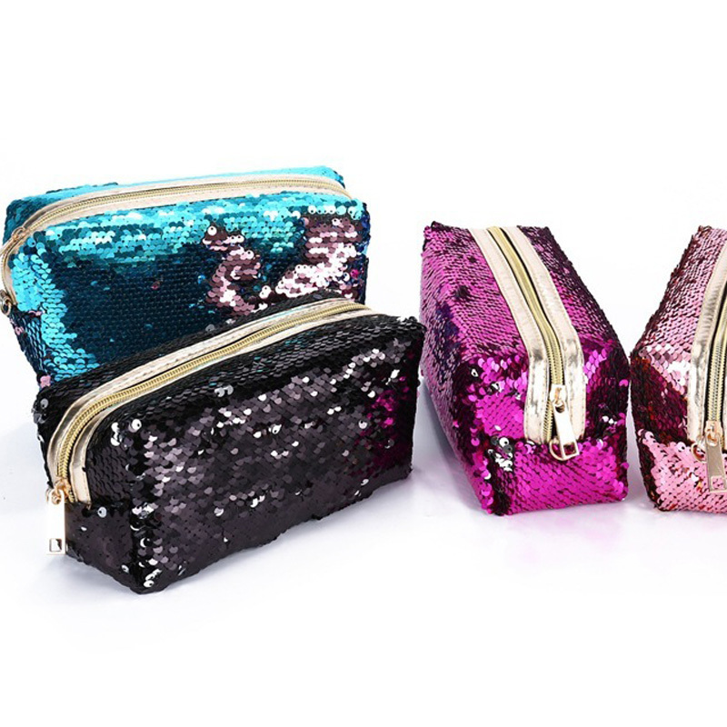 Unisex Women paillette Cosmetic Bag Clutches Double Color Sequins Zipper Makeup Pouch necessaries para mulheres maquiagem цена 2017