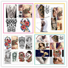 Hot 1 Pc 19x12cm Temporary Tattoo Supplies Fake Tattoos Sticker Flowers Animal Figure Designs Chest Tattoos For Men Body Art