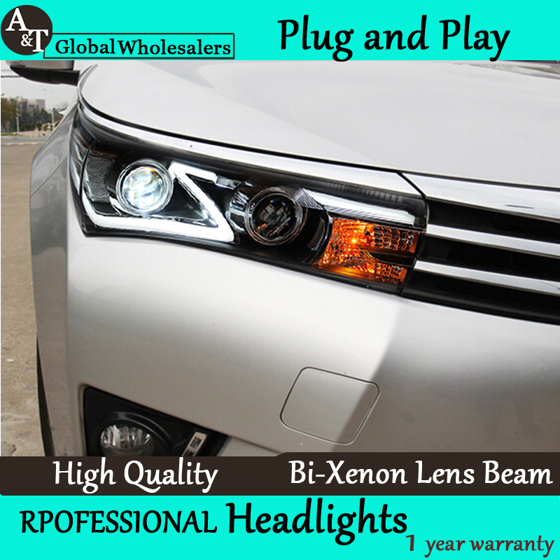 Car Styling for Toyota Corolla Headlight assembly New Altis Led Headlight DRL Lens Double Beam H7 with hid kit 2 pcs. new distributor assembly 19020 15180 for toyota corona 8a 5afe 1 6l