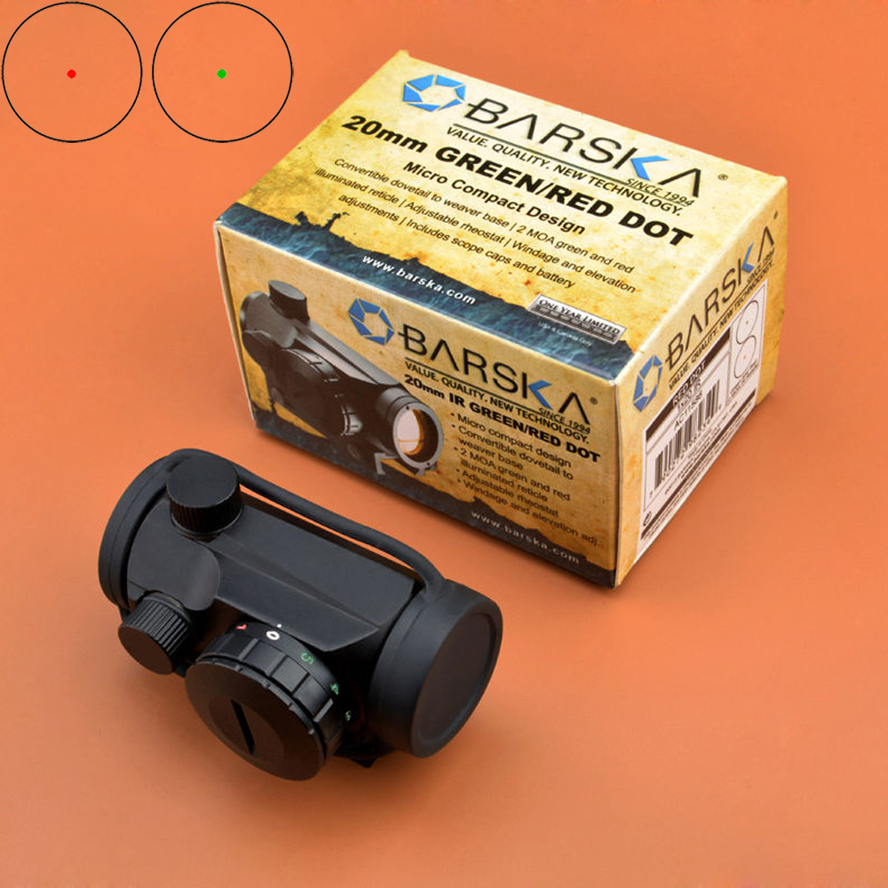 BARSKA Red Dot Scope 1x20 Red/Green Dot Multi-coated Micro Compact Sight Red Dot Sight 5 position rheostat mixmasters dot to dot