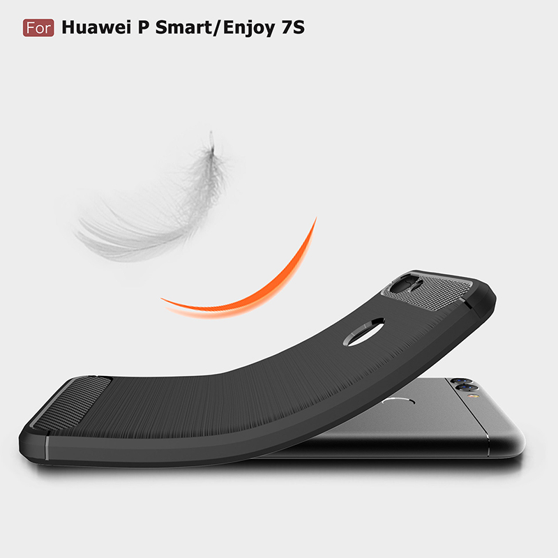 For Huawei P Smart Case Cover P Smart TPU Silicone Bumper Anti-Shock Soft Carbon Fiber Phone Cases Cover For Huawei P Smart 2018