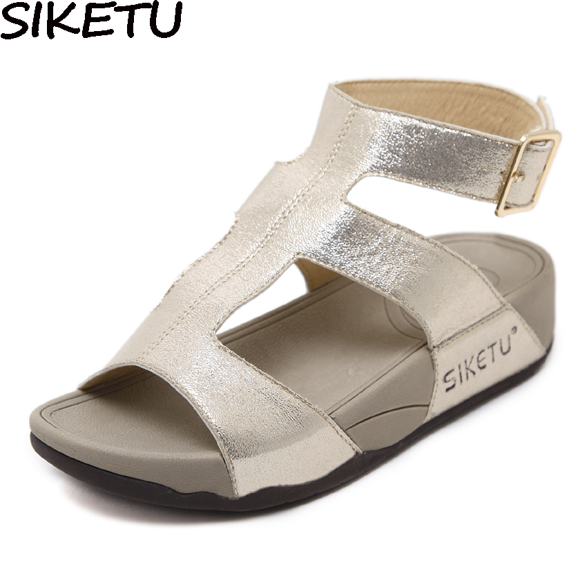 все цены на SIKETU Women Gladiator Sandals Flat Platform Wedge Heel Open Toe Ankle Strap Roman Strappy Sandals Slingback Summer Casual Shoes