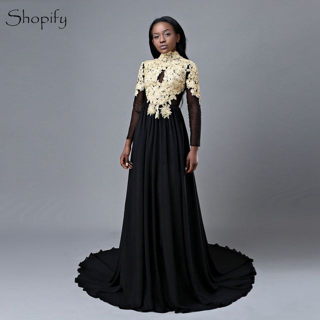 Sexy Long Sleeve Prom Dresses 2018 Sheer Back High Neck Gold Lace