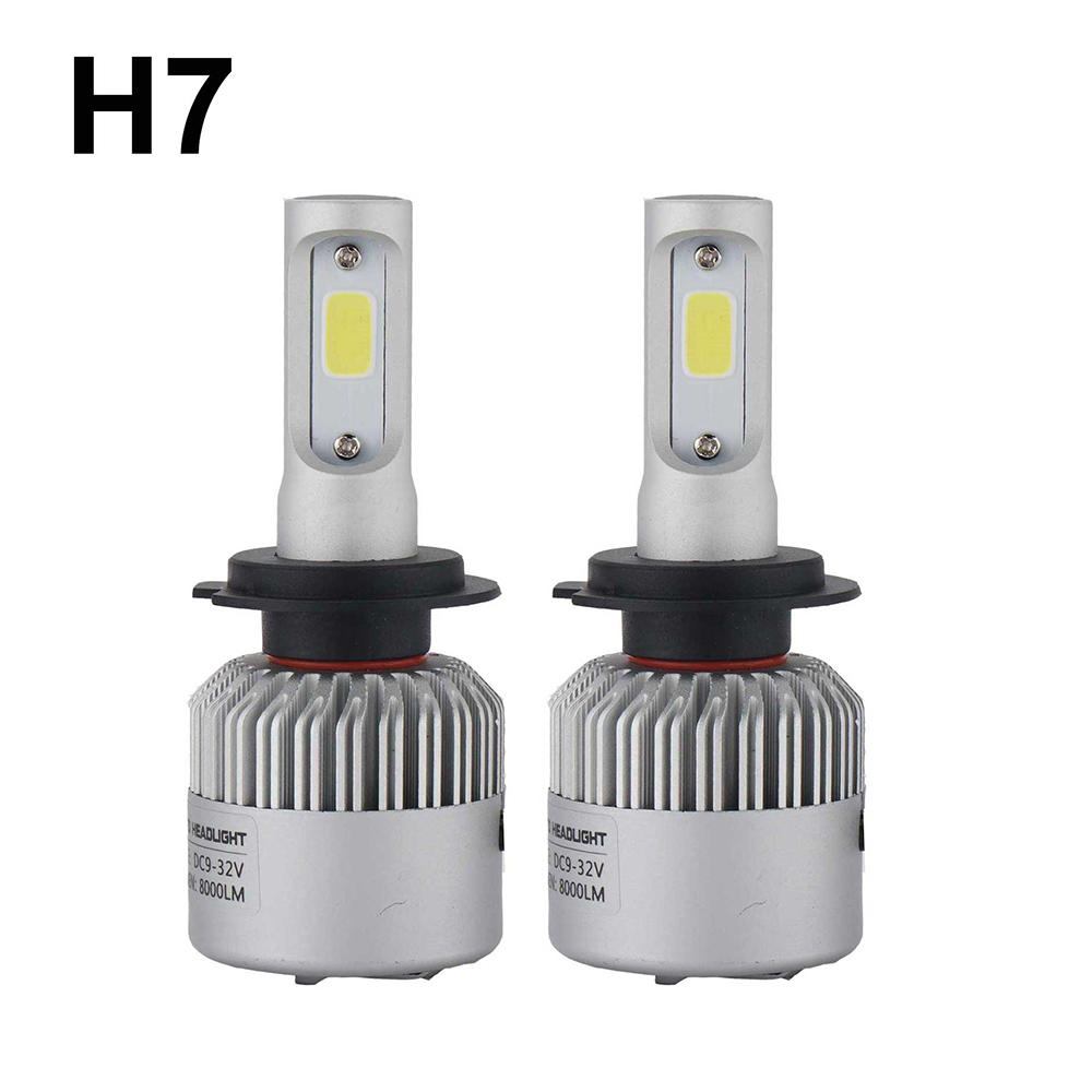 Super bright Auto Car H8 H11 H7 H4 H1 LED Headlights 6500K xenon white 72W 8000LM COB Bulbs 2sides Diodes Automobiles Parts Lamp