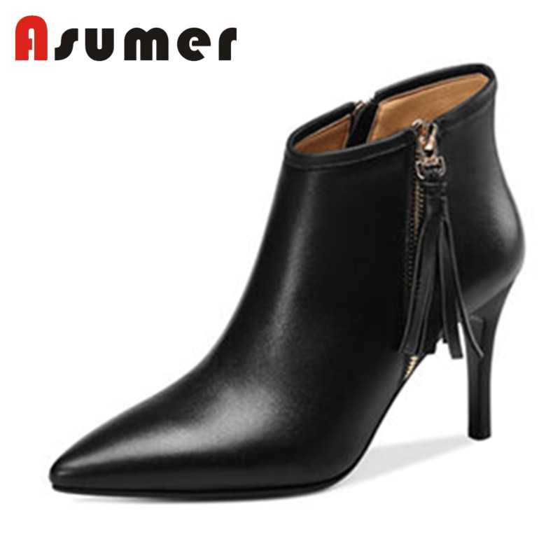 ASUMER offre spéciale 2018 nouvelle frange zip bottines pour les femmes solide simple talons hauts bottes bout pointu sexy en cuir véritable bottes