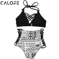 CALOFE Women Sexy High Waist Geometic Printed Halter Bikini Set Women Top Push Up Bikini Set