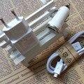 Adaptador de Cargador de coche + 2A AC Adaptador de Corriente Cargador de Pared + 1 M 5pin usb data sync cable de carga para samsung galaxy andorid teléfono