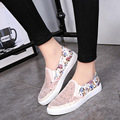 2016 summer student shoes hollow out breathable muffin shoes women ladies mesh casual shoes with floral printing DT574