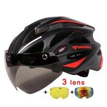 MOON Magnetic Goggles 275g MTB Road Mountain Cycling Helmet Bicycle Helmet In-mold Lens Bike Helmet 55-61CM Casco Ciclismo