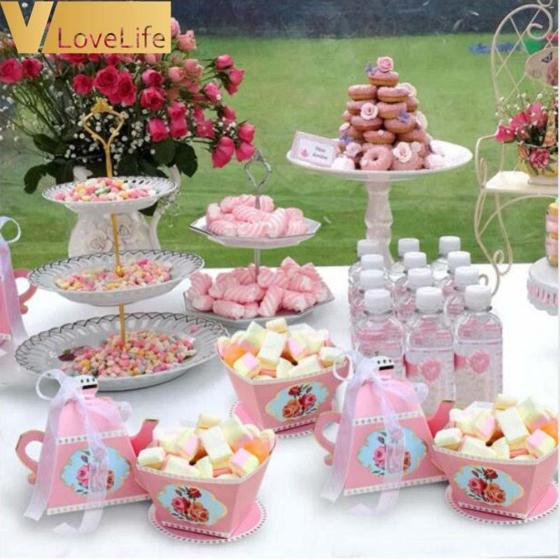Cheap Wedding Gift Ideas For Guests: 20PCS Mini Teapot Cup Wedding Favor Boxes Bonbonniere Gift