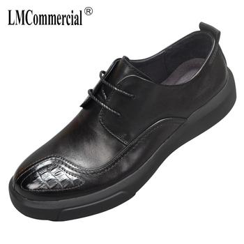 Jesień oddychające męskie buty w stylu casual brytyjski retro męskie buty skóra bydlęca sznurowane biznes męskie buty mężczyźni ubierają buty z prawdziwej skóry tanie i dobre opinie Dla dorosłych Przypadkowi buty Podstawowe Gumowe Oddychająca Wodoodporna 梵嵩 Hook loop Świńskiej 20190422 Wiosna jesień
