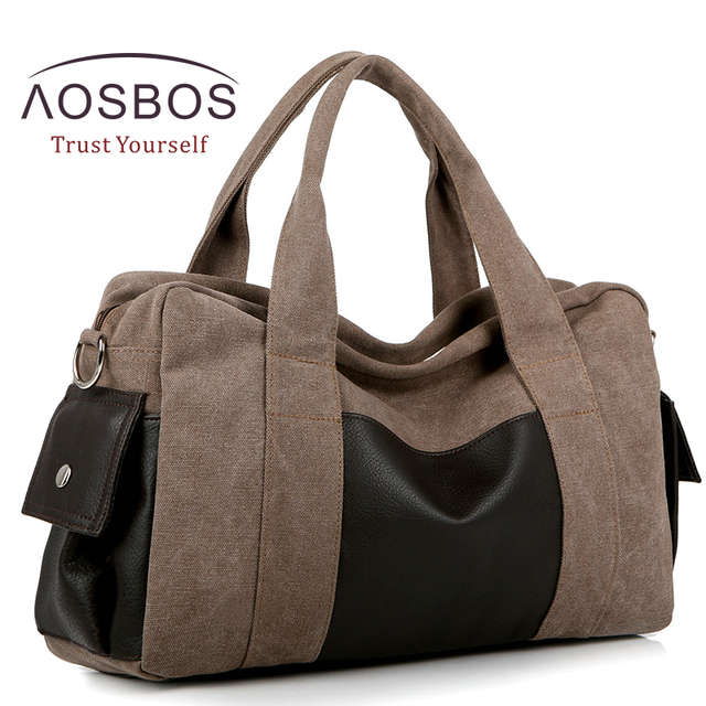 Aosbos Canvas Gym Bag Men Women Sports For Fitness Outdoor Traveling Handbags Durable Multifunctional Training