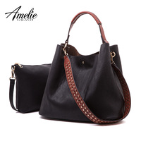 AMELIE GALANTI Women Leather Composite Bag Set Casual Tote Bags Handbag Wallets Large Capacity 2 Bags in 1 Women Hobo Purses