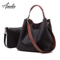 AMELIE GALANTI Women Leather Composite Bag Set Casual Tote Bags Handbag Wallets large capacity 2 bags in 1 women hobo purses
