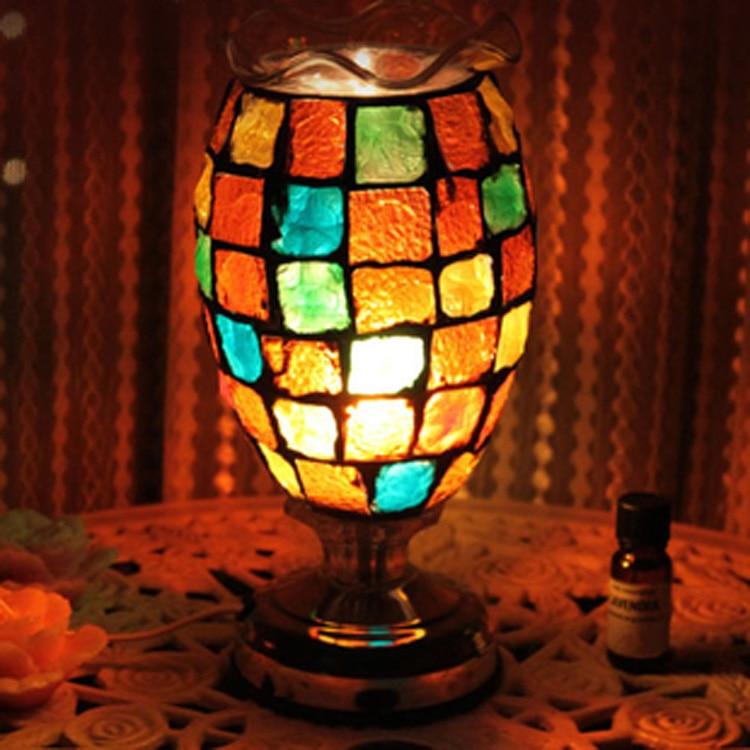 The new color glass now desk table lamp complex antique mosaic burner plug lamp wedding oil lamp DF86The new color glass now desk table lamp complex antique mosaic burner plug lamp wedding oil lamp DF86
