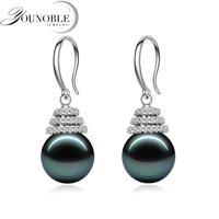 Cultured black tahitian pearl earrings women,wedding pearl jewelry 925 sterling silver earrings anti allergic anniversary gift