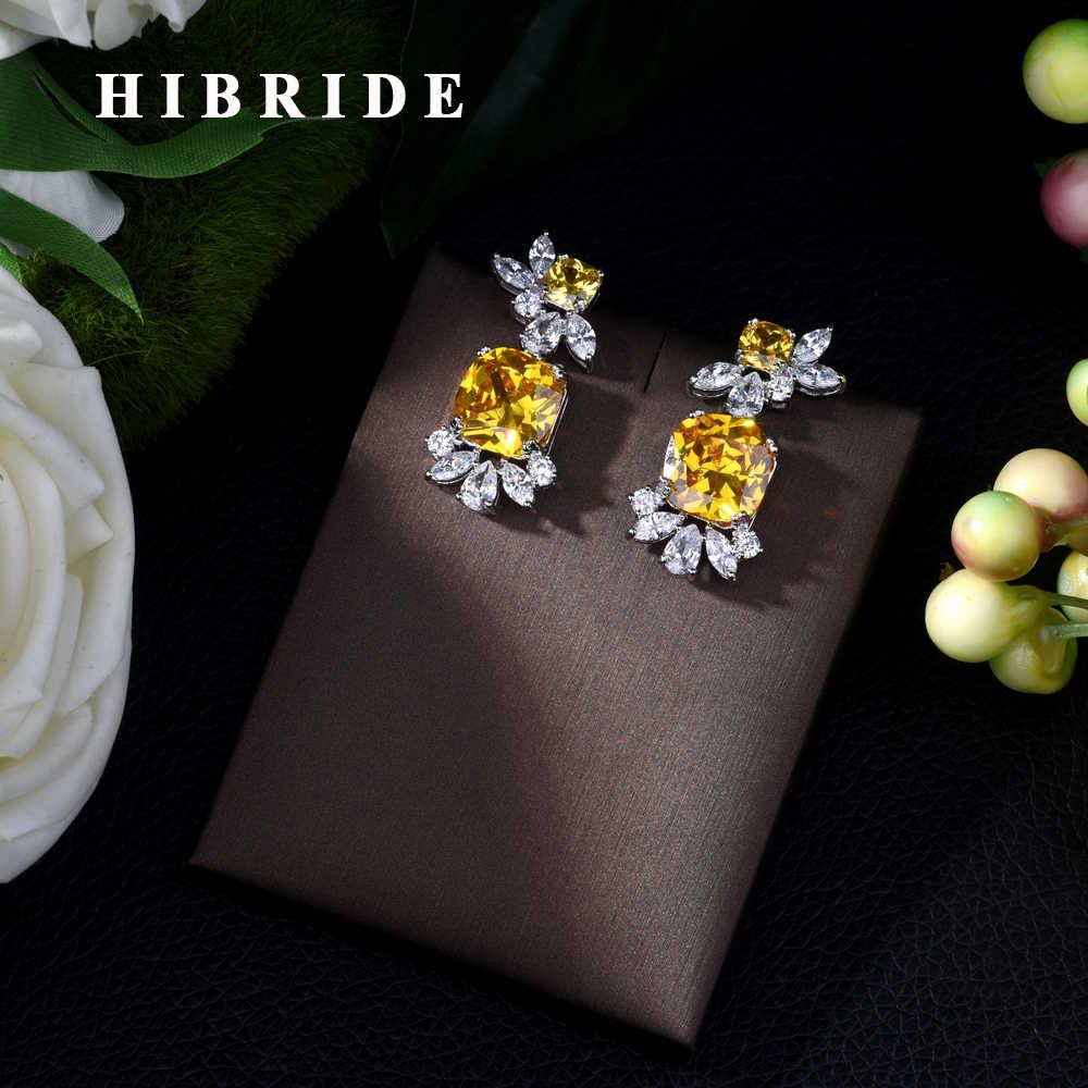 HIBRIDE Trendy Charm เงา AAA Cubic Zirconia ต่างหูผู้หญิงสีเหลืองงบคริสตัล 2019 ต่างหู E-418