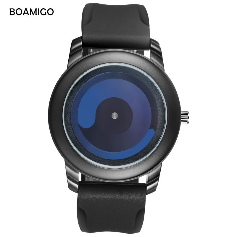 BOAMIGO brand mens watches Creative black silicone man quartz wristwatches 30m waterproof casual male clocks original gift box
