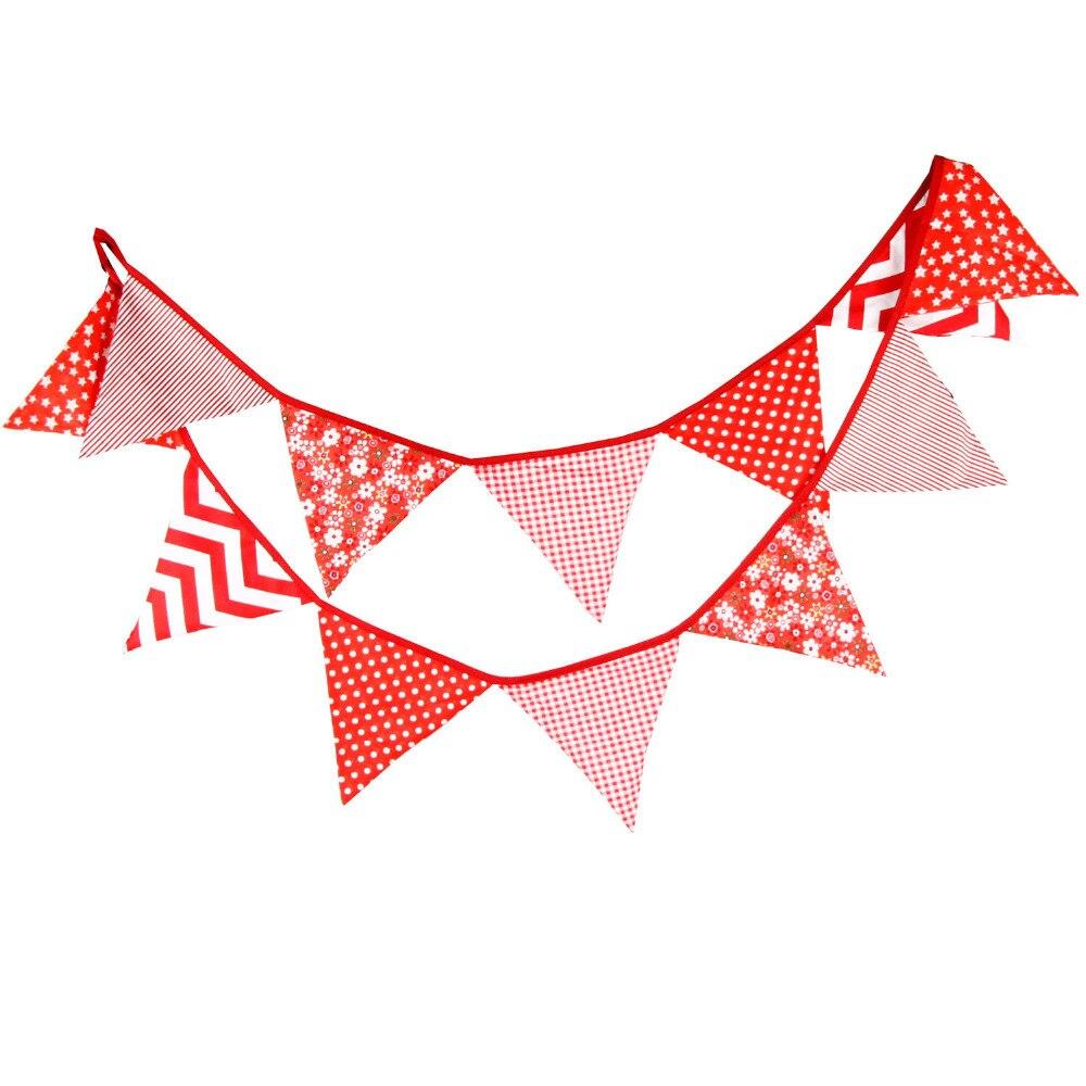 1pcs 3.3M 12Flags Home Decoration Red Pastoral Cloth Flag ...