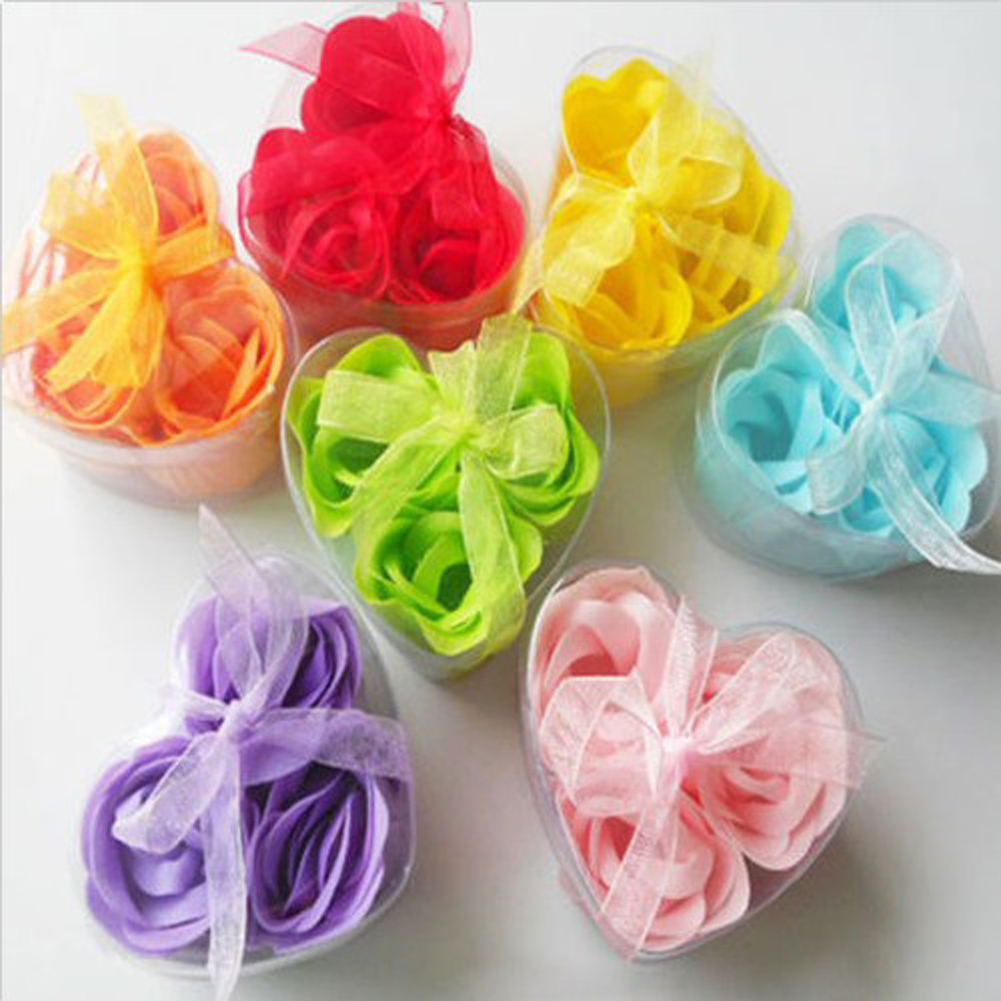 Flowers For Wedding Gift: 3Pcs/Box Heart Shaped Rose Soap Flowers Romantic Wedding