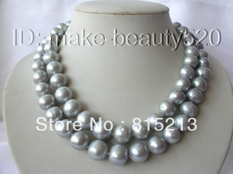 ddh001242 stunning 2rows big 14mm round gray freshwater cultured pearl necklace
