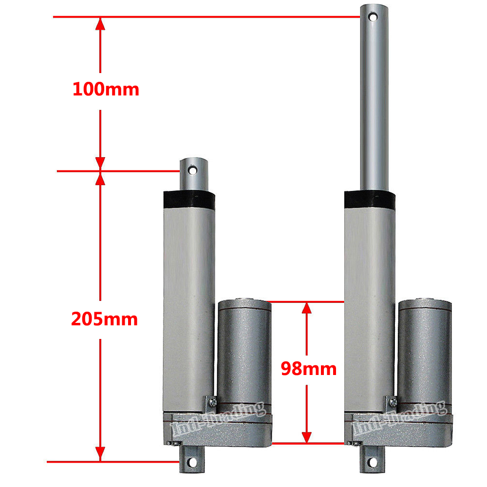 """Electric Linear Actuator 100mm 4"""" Stroke Linear Motion 5.7mm/s 1500N 330lbs Heavy Duty 12V DC Motor for Auto Car Boat Door Open-in DC Motor from Home Improvement    2"""