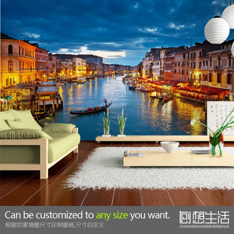 Venice Water City Night Scene Wallpaper Customization Large