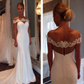 2017 New Arrival Wedding Dresses Mermaid Simple Elegant Bridal Gowns Chiffon with Lace Cap Sleeve Wedding Gowns Custom Made