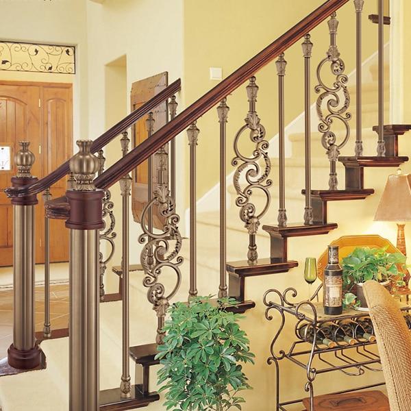 European interior design showily aluminum stair railing antique copper color plating fencein