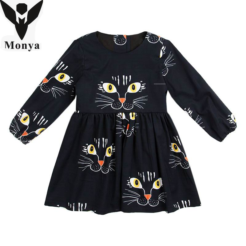 Girls Dresses Children Clothing Baby Girls Cartoon Print Cat Face Dress For Girl Cute Kids Cotton Princess Dress Casual Costume