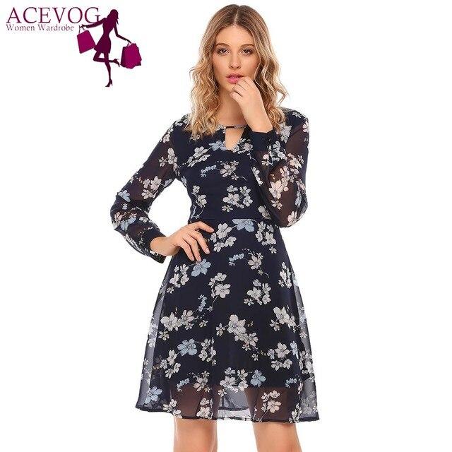 2c0023d380 ACEVOG Jesień Szyfon Kwiatowy Print Sukienka W Stylu Vintage Kobiety O Neck  Z Długim Rękawem Party
