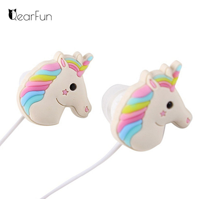 11009aaf6b3 Cute Unicorn Earphone Animal Wired Music Headphones With Mic For iphone  Huawei Xiaomi Girl Gift Drop