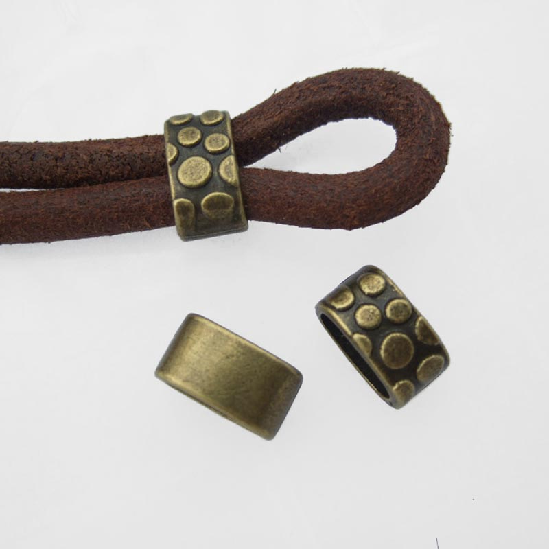 10pcs Antique Bronze Round Dot Slider Spacers Charms Beads Fit 11x5mm Leather Cord Bracelet Necklace Jewelry Making Accessories