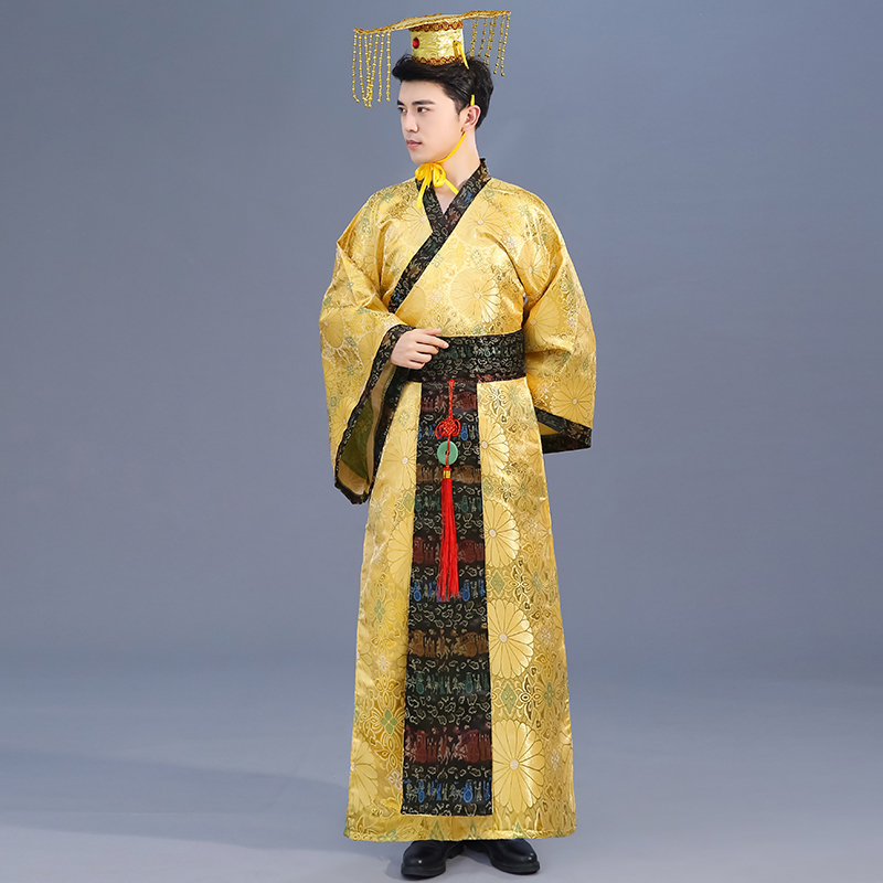 Adult Chinese Traditional Hanfu Dress Men Emperor King Stage Yellow Clothing Tang Suit Costumes Men'S Robe+Hat Sets DL3184-in Chinese Folk Dance from Novelty & Special Use    3