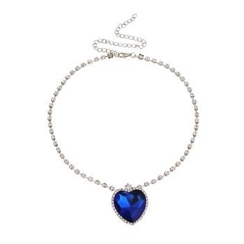 Crystal Pendant Heart Necklace Classic Titanic Ocean Crystal Heart Pendant Necklace Rhinestone Lover Gift  Ожерелье