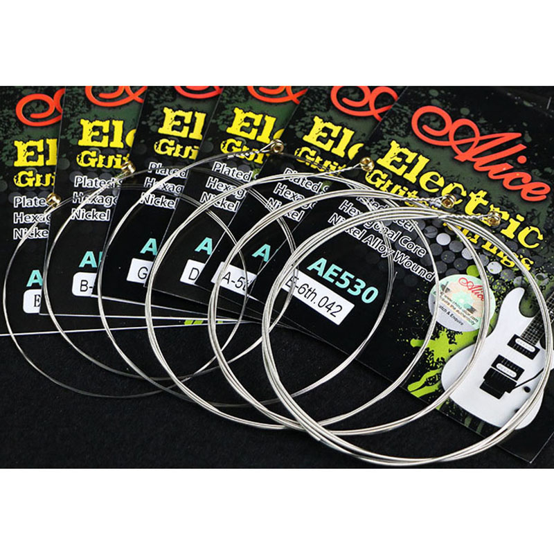 ALICE AE530-SL Electric Guitar Strings 1st-6th Super Light .009-.042 Nickel Alloy Wound Full Set Hexagonal Core
