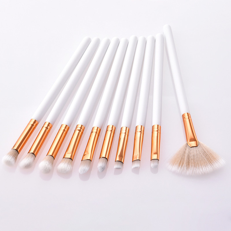 10Pcs Professional Makeup Brushes Set Nylon Hair Powder Foundation Eye Shadow Brow Eyeliner Lip Cosmetic Beauty Brushes Tool Kit