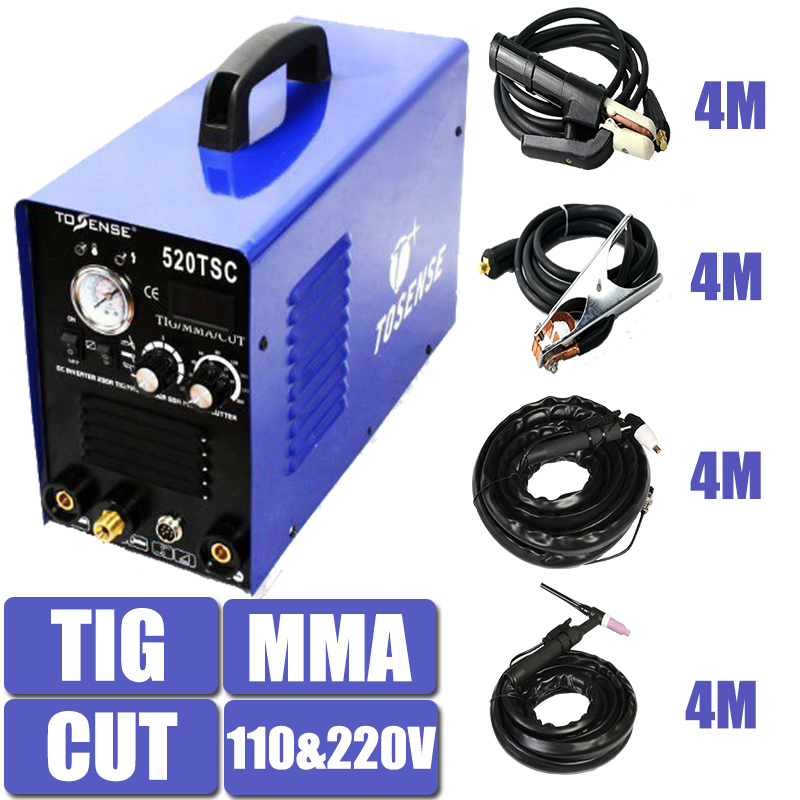 110/220V 3 In 1 Multifunction Welding Machine 520TSC TIG CUT MMA Plasma Welder Inverter 4M Clamp Free Shipping