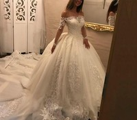 New Arrival Wedding Dresses Ball Gown 2019 robe de mariage Boat Neck Lace Long Sleeve Tulle Bridal Gowns