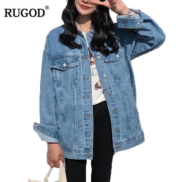 RUGOD מוצק תורו למטה צווארון ז 'אן מעיל לנשים Loose מקרית כחול אופנתי נשיות להאריך ימים יותר ג' ינס נשי