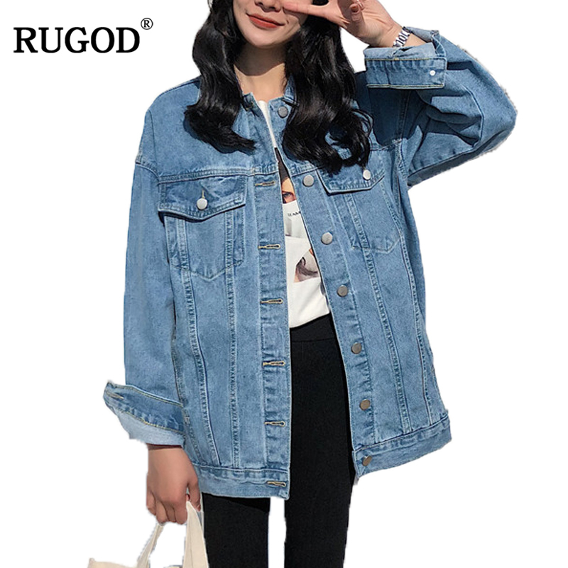 RUGOD Solid Turn-down Collar Jean Jacket For Women Loose Casual Blue Fashionable Women Coats Female Outwear Denim Feminine