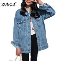 RUGOD Solid Turn down Collar Jean Jacket for Women Loose Casual Blue Fashionable Women Coats Female outwear Denim Feminine