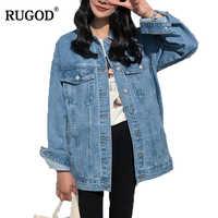 RUGOD Solide drehen-unten Kragen Jean Jacke für Frauen Lose Beiläufige Blau Modische Frauen Mäntel Weibliche outwear Denim Feminine